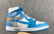 Wholesale Cheap The 10 Air Jordan 1 Off White North Carolina blue/White