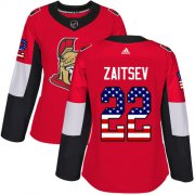 Wholesale Cheap Adidas Senators #22 Nikita Zaitsev Red Home Authentic USA Flag Women's Stitched NHL Jersey