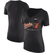 Wholesale Cheap Baltimore Orioles Nike Women's Practice Tri-Blend V-Neck T-Shirt Black