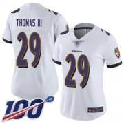 Wholesale Cheap Nike Ravens #29 Earl Thomas III White Women's Stitched NFL 100th Season Vapor Limited Jersey