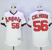 Wholesale Cheap Angels of Anaheim #56 Kole Calhoun White Flexbase Authentic Collection Cooperstown Stitched MLB Jersey