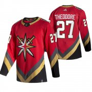Wholesale Cheap Vegas Golden Knights #27 Shea Theodore Red Men's Adidas 2020-21 Reverse Retro Alternate NHL Jersey