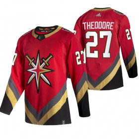 Wholesale Cheap Vegas Golden Knights #27 Shea Theodore Red Men\'s Adidas 2020-21 Reverse Retro Alternate NHL Jersey
