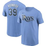 Wholesale Cheap Tampa Bay Rays #39 Kevin Kiermaier Nike Name & Number T-Shirt Light Blue