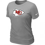 Wholesale Cheap Women's Nike Kansas City Chiefs Logo NFL T-Shirt Light Grey