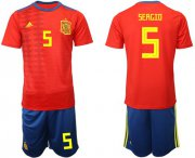 Wholesale Cheap Spain #5 Sergio Home Soccer Country Jersey