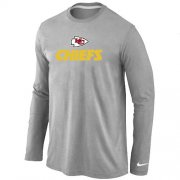 Wholesale Cheap Nike Kansas City Chiefs Authentic Logo Long Sleeve T-Shirt Grey