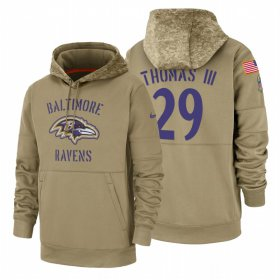 Wholesale Cheap Baltimore Ravens #29 Earl Thomas III Nike Tan 2019 Salute To Service Name & Number Sideline Therma Pullover Hoodie