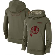 Wholesale Cheap Women's Washington Redskins Nike Olive Salute to Service Sideline Therma Performance Pullover Hoodie