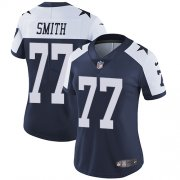 Wholesale Cheap Nike Cowboys #77 Tyron Smith Navy Blue Thanksgiving Women's Stitched NFL Vapor Untouchable Limited Throwback Jersey