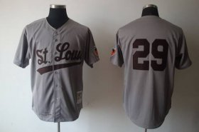 Wholesale Mitchell And Ness 1953 Browns #29 Satchel Paige Grey Stitched Baseball Jersey