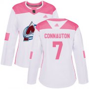 Wholesale Cheap Adidas Avalanche #7 Kevin Connauton White/Pink Authentic Fashion Women's Stitched NHL Jersey