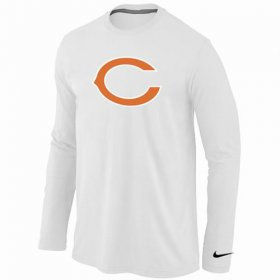 Wholesale Cheap Nike Chicago Bears Logo Long Sleeve T-Shirt White