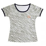 Wholesale Cheap Women's Nike Chicago Bears Chest Embroidered Logo Zebra Stripes T-Shirt