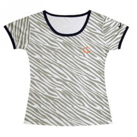 Wholesale Cheap Women\'s Nike Chicago Bears Chest Embroidered Logo Zebra Stripes T-Shirt