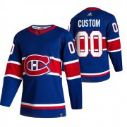 Wholesale Cheap Montreal Canadiens Custom Blue Men's Adidas 2020-21 Reverse Retro Alternate NHL Jersey