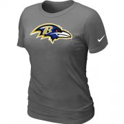 Wholesale Cheap Women's Nike Baltimore Ravens Logo NFL T-Shirt Dark Grey