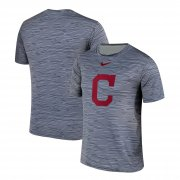 Wholesale Cheap Nike Cleveland Indians Gray Black Striped Logo Performance T-Shirt