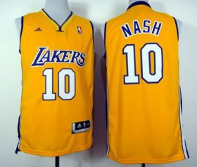 Wholesale Cheap Los Angeles Lakers #10 Steve Nash Revolution 30 Swingman Yellow Jersey