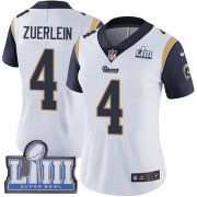 Wholesale Cheap Nike Rams #4 Greg Zuerlein White Super Bowl LIII Bound Women's Stitched NFL Vapor Untouchable Limited Jersey