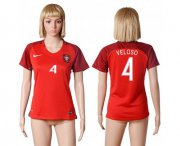 Wholesale Cheap Women's Portugal #4 Veloso Home Soccer Country Jersey
