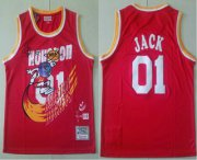 Wholesale Cheap Travis Scott X Br X Mn Houston Rockets #01 Jack Red Basketball Swingman Stitched Throwback Jersey