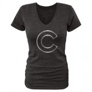 Wholesale Cheap Women's Chicago Cubs Fanatics Apparel Platinum Collection V-Neck Tri-Blend T-Shirt Black