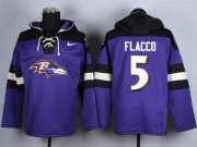 Wholesale Cheap Nike Ravens #5 Joe Flacco Purple Player Pullover NFL Hoodie