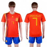 Wholesale Cheap Spain #7 David Villa Home Soccer Country Jersey
