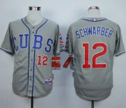 Wholesale Cheap Cubs #12 Kyle Schwarber Grey Cool Base Stitched MLB Jersey