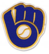 Wholesale Cheap Stitched MLB Milwaukee Brewers Glove & Ball Retro Logo Patch (White Border)