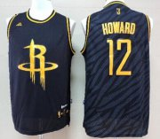 Wholesale Cheap Houston Rockets #12 Dwight Howard Revolution 30 Swingman 2014 Black With Gold Jersey
