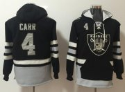 Wholesale Cheap Nike Raiders #4 Derek Carr Black/Grey Name & Number Pullover NFL Hoodie