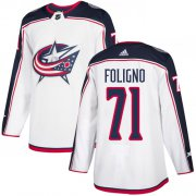 Wholesale Cheap Adidas Blue Jackets #71 Nick Foligno White Road Authentic Stitched Youth NHL Jersey