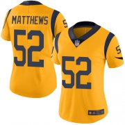 Wholesale Cheap Nike Rams #52 Clay Matthews Gold Women's Stitched NFL Limited Rush Jersey