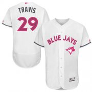 Wholesale Cheap Blue Jays #29 Devon Travis White Flexbase Authentic Collection Mother's Day Stitched MLB Jersey