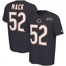 Wholesale Cheap Chicago Bears #52 Khalil Mack Nike 2019 NFL 100th Season Player Pride Name & Number Performance T-Shirt Navy