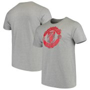 Wholesale Cheap Manchester United adidas Brushed Stripes T-Shirt Heathered Gray