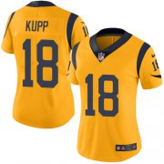 Wholesale Cheap Nike Rams #18 Cooper Kupp Gold Women's Stitched NFL Limited Rush Jersey