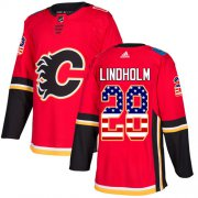Wholesale Cheap Adidas Flames #28 Elias Lindholm Red Home Authentic USA Flag Stitched Youth NHL Jersey