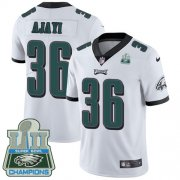 Wholesale Cheap Nike Eagles #36 Jay Ajayi White Super Bowl LII Champions Youth Stitched NFL Vapor Untouchable Limited Jersey