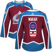 Wholesale Cheap Adidas Avalanche #8 Cale Makar Burgundy Home Authentic USA Flag Women's Stitched NHL Jersey