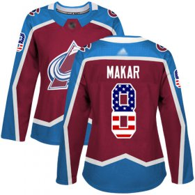Wholesale Cheap Adidas Avalanche #8 Cale Makar Burgundy Home Authentic USA Flag Women\'s Stitched NHL Jersey