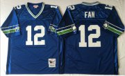 Wholesale Cheap Mitchell And Ness Seahawks #12 Fan Blue Throwback Stitched NFL Jersey