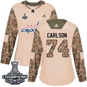 Wholesale Cheap Adidas Capitals #74 John Carlson Camo Authentic 2017 Veterans Day Stanley Cup Final Champions Women\'s Stitched NHL Jersey
