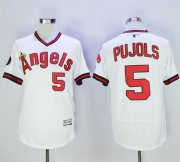 Wholesale Cheap Angels of Anaheim #5 Albert Pujols White Flexbase Authentic Collection Cooperstown Stitched MLB Jersey