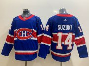 Wholesale Cheap Men's Montreal Canadiens #14 Nick Suzuki Blue Adidas 2020-21 Alternate Authentic Player NHL Jersey