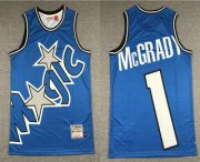 Wholesale Cheap Men's Orlando Magic #1 Tracy McGrady Blue Big Face Mitchell Ness Hardwood Classics Soul Swingman Throwback Jersey