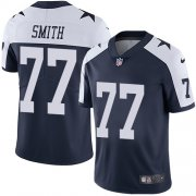Wholesale Cheap Nike Cowboys #77 Tyron Smith Navy Blue Thanksgiving Men's Stitched NFL Vapor Untouchable Limited Throwback Jersey