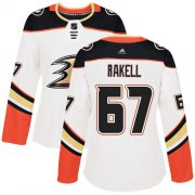 Wholesale Cheap Adidas Ducks #67 Rickard Rakell White Road Authentic Women's Stitched NHL Jersey